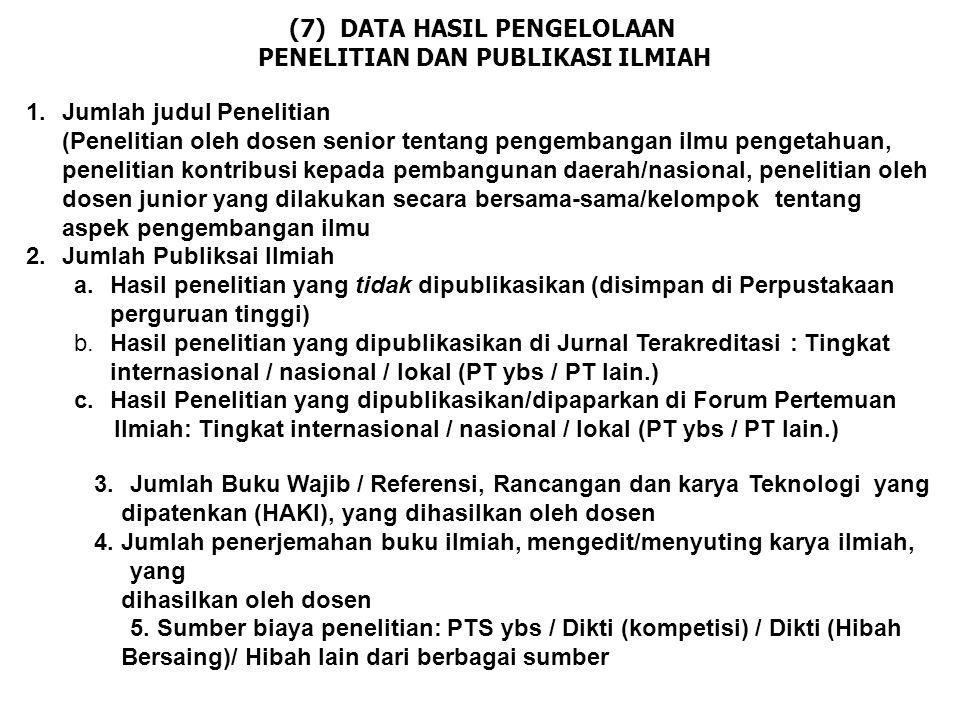(7) DATA HASIL PENGELOLAAN PENELITIAN DAN PUBLIKASI ILMIAH 1.Jumlah judul Penelitian (Penelitian oleh dosen senior tentang pengembangan ilmu pengetahu
