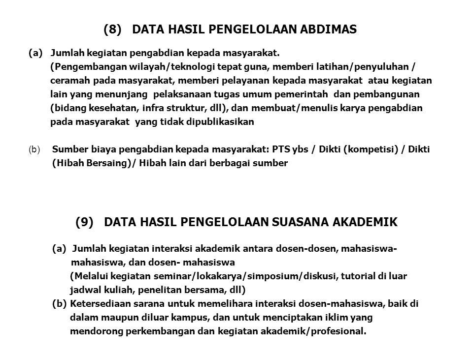 (a) Jumlah kegiatan pengabdian kepada masyarakat. (Pengembangan wilayah/teknologi tepat guna, memberi latihan/penyuluhan / ceramah pada masyarakat, me