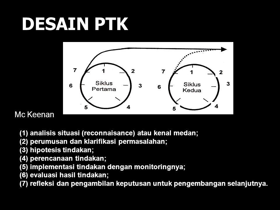 DESAIN PTK Menurut Kemmis dan McTaggart : 1. merumuskan masalah dan merencanakan tindakan 2. melaksanakan tindakan dan pengamatan/monitoring 3. reflek
