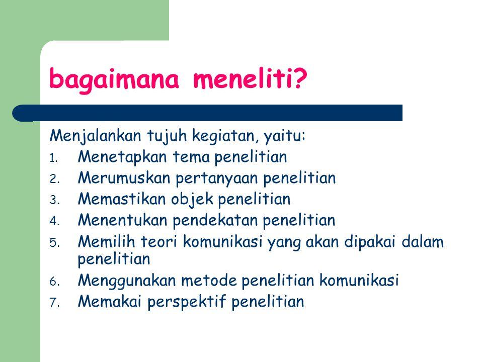 bagaimana meneliti? Menjalankan tujuh kegiatan, yaitu: 1. Menetapkan tema penelitian 2. Merumuskan pertanyaan penelitian 3. Memastikan objek penelitia