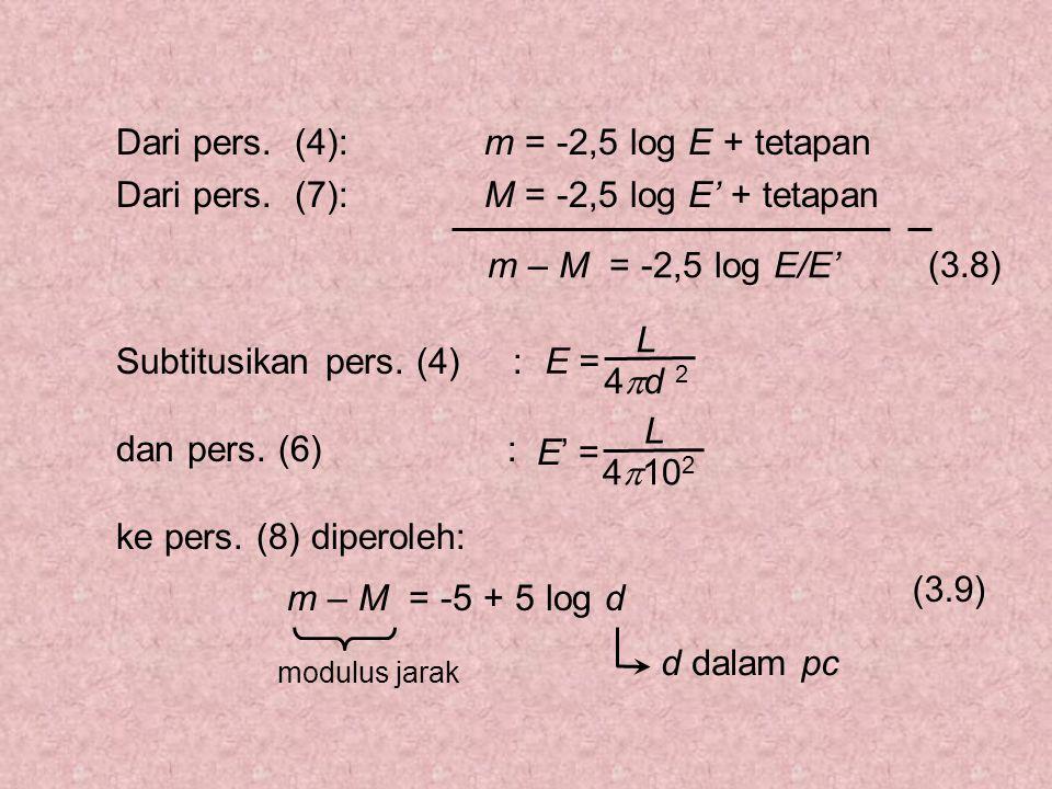 m = -2,5 log E + tetapanDari pers. (4): M = -2,5 log E' + tetapanDari pers.
