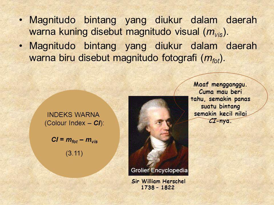 Magnitudo bintang yang diukur dalam daerah warna kuning disebut magnitudo visual (m vis ).