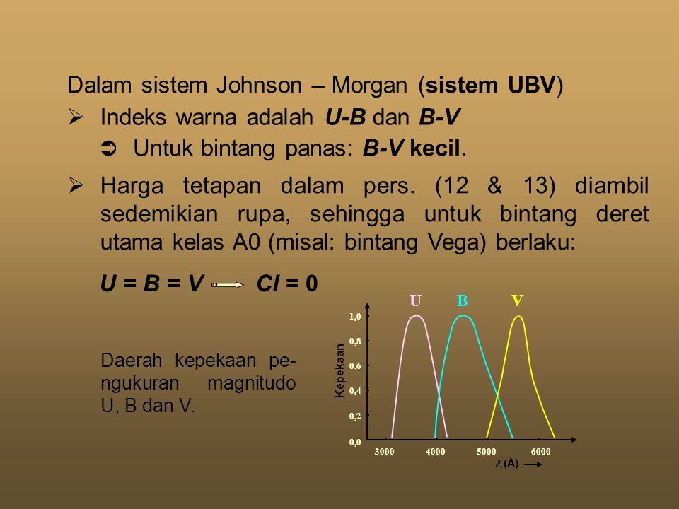  Indeks warna adalah U-B dan B-V  Untuk bintang panas: B-V kecil.