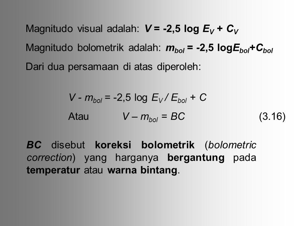 Magnitudo visual adalah: V = -2,5 log E V + C V Magnitudo bolometrik adalah: m bol = -2,5 logE bol +C bol Dari dua persamaan di atas diperoleh: V - m bol = -2,5 log E V / E bol + C Atau V – m bol = BC BC disebut koreksi bolometrik (bolometric correction) yang harganya bergantung pada temperatur atau warna bintang.