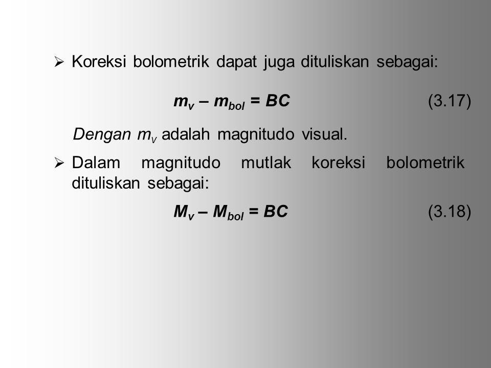  Koreksi bolometrik dapat juga dituliskan sebagai: m v – m bol = BC (3.17) Dengan m v adalah magnitudo visual.