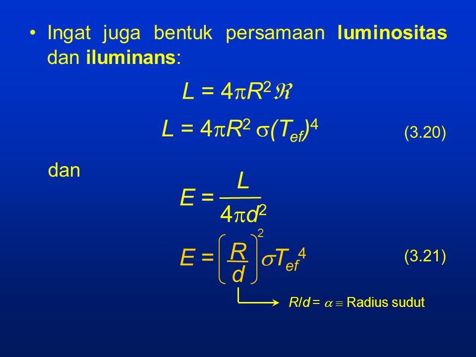 Ingat juga bentuk persamaan luminositas dan iluminans: L = 4  R 2  L = 4  R 2  (T ef ) 4 dan E = L 4d24d2 E =  T ef 4 R d 2 (3.20) (3.21) R/d =   Radius sudut