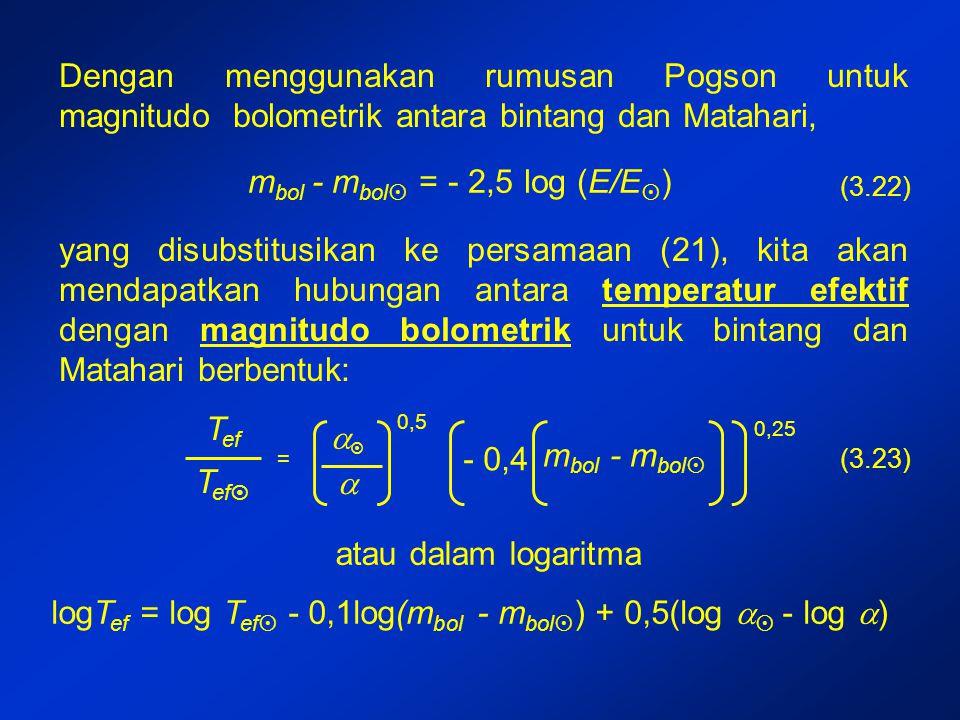 Dengan menggunakan rumusan Pogson untuk magnitudo bolometrik antara bintang dan Matahari, m bol - m bol  = - 2,5 log (E/E  ) yang disubstitusikan ke persamaan (21), kita akan mendapatkan hubungan antara temperatur efektif dengan magnitudo bolometrik untuk bintang dan Matahari berbentuk: logT ef = log T ef  - 0,1log(m bol - m bol  ) + 0,5(log   - log  ) (3.22) T ef T ef  =   0,5 - 0,4 m bol - m bol  0,25 atau dalam logaritma (3.23)