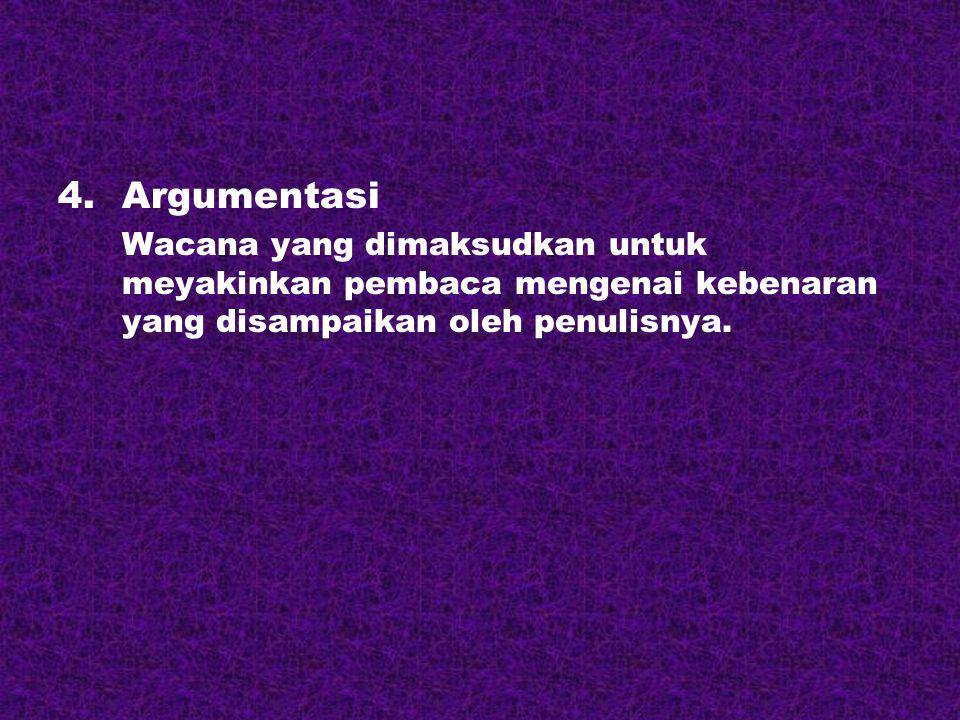 4.Argumentasi Wacana yang dimaksudkan untuk meyakinkan pembaca mengenai kebenaran yang disampaikan oleh penulisnya.