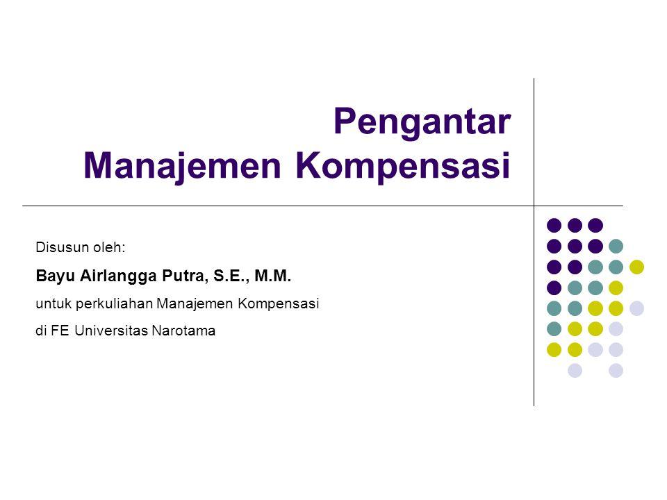 Pengantar Manajemen Kompensasi Disusun oleh: Bayu Airlangga Putra, S.E., M.M. untuk perkuliahan Manajemen Kompensasi di FE Universitas Narotama
