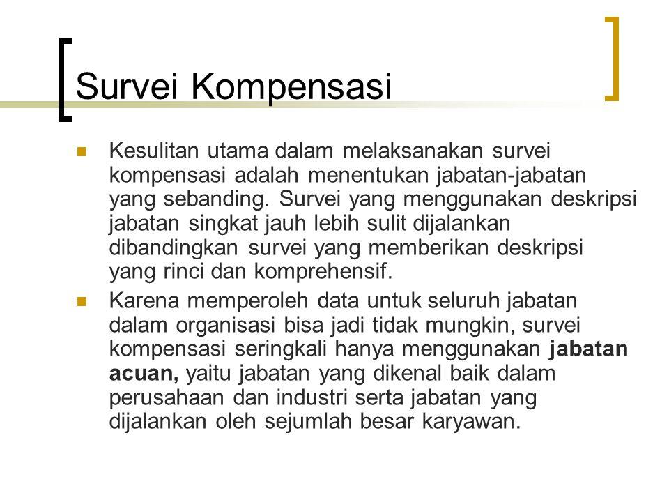 Survei Kompensasi Kesulitan utama dalam melaksanakan survei kompensasi adalah menentukan jabatan-jabatan yang sebanding. Survei yang menggunakan deskr
