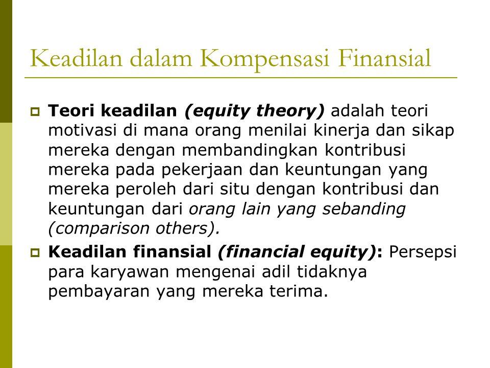 Keadilan dalam Kompensasi Finansial  Teori keadilan (equity theory) adalah teori motivasi di mana orang menilai kinerja dan sikap mereka dengan memba
