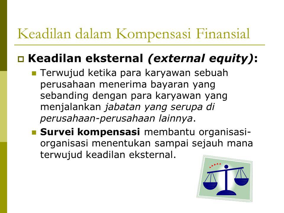 Keadilan dalam Kompensasi Finansial  Keadilan eksternal (external equity): Terwujud ketika para karyawan sebuah perusahaan menerima bayaran yang seba