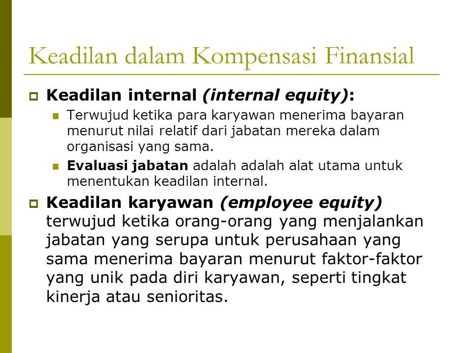 Keadilan dalam Kompensasi Finansial  Keadilan internal (internal equity): Terwujud ketika para karyawan menerima bayaran menurut nilai relatif dari j