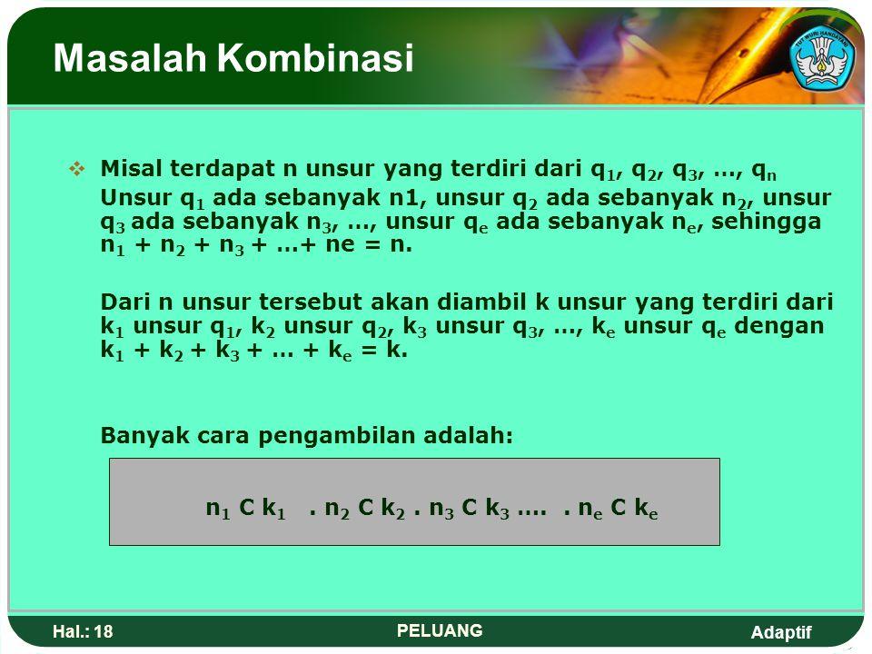 Adaptif Hal.: 17 PELUANG Masalah Kombinasi Kombinasi k Unsur dari n Unsur dengan beberapa unsur sama Misal 4 bola akan yang diambil dari dalam kotak b