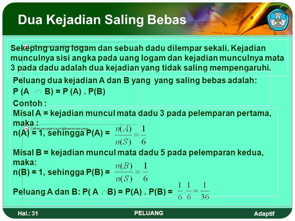 Adaptif Hal.: 30 PELUANG Contoh Soal : 1.Sebuah dadu dilemparkan satu kali, Jika A = {kejadian muncul mata dadu lebih dari 2}, tentukan P(A') ? Jawab
