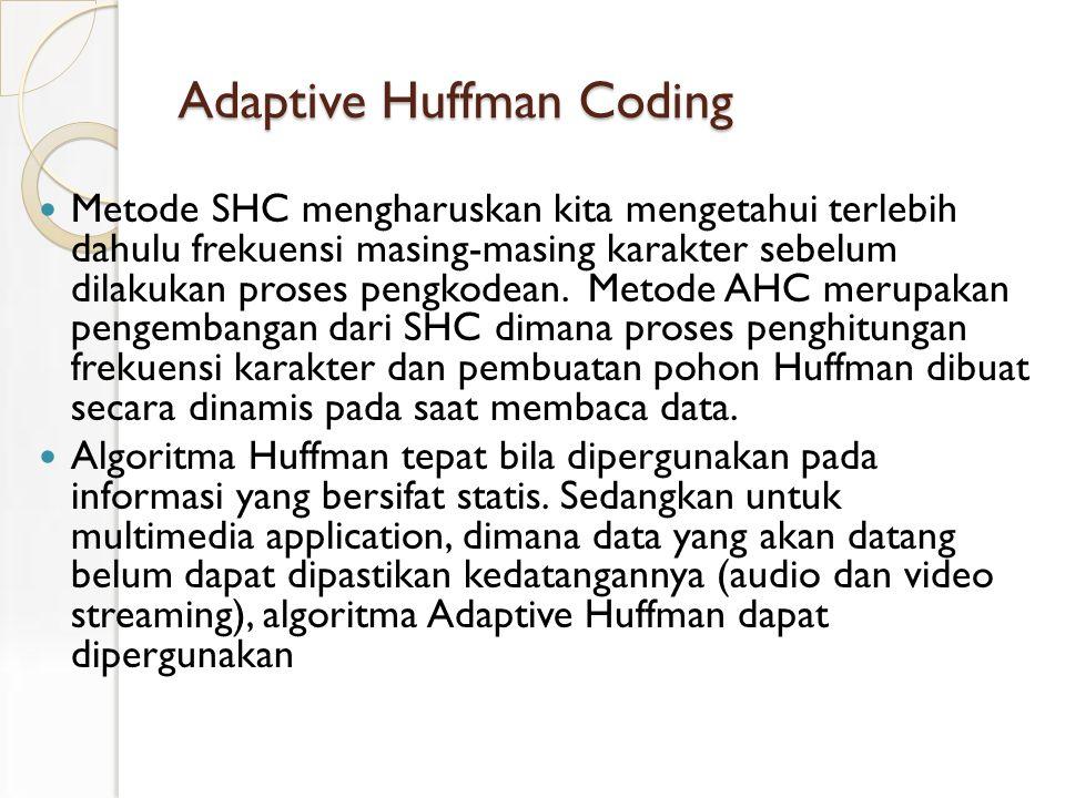 Adaptive Huffman Coding Metode SHC mengharuskan kita mengetahui terlebih dahulu frekuensi masing-masing karakter sebelum dilakukan proses pengkodean.