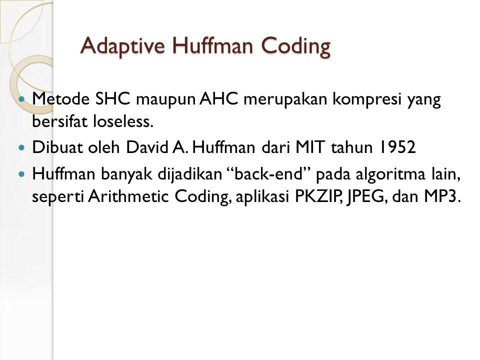 Adaptive Huffman Coding Metode SHC maupun AHC merupakan kompresi yang bersifat loseless.