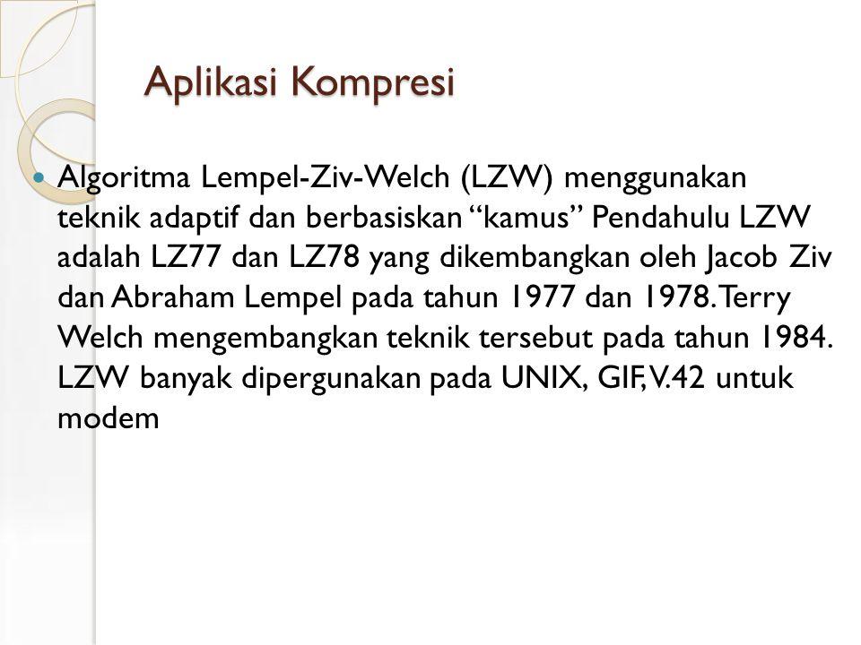 Aplikasi Kompresi Algoritma Lempel-Ziv-Welch (LZW) menggunakan teknik adaptif dan berbasiskan kamus Pendahulu LZW adalah LZ77 dan LZ78 yang dikembangkan oleh Jacob Ziv dan Abraham Lempel pada tahun 1977 dan 1978.