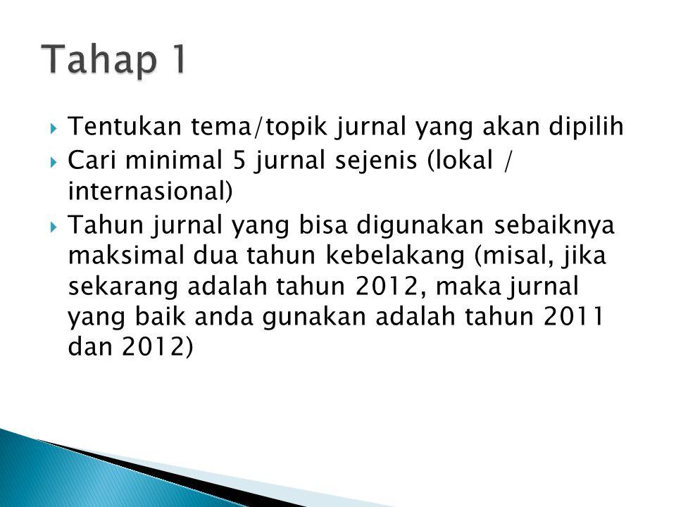  Tentukan tema/topik jurnal yang akan dipilih  Cari minimal 5 jurnal sejenis (lokal / internasional)  Tahun jurnal yang bisa digunakan sebaiknya ma