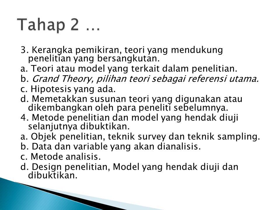 3. Kerangka pemikiran, teori yang mendukung penelitian yang bersangkutan. a. Teori atau model yang terkait dalam penelitian. b. Grand Theory, pilihan