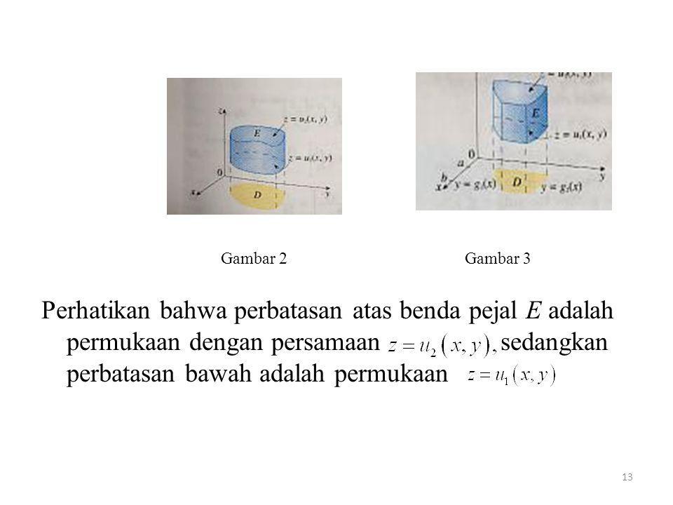 13 Perhatikan bahwa perbatasan atas benda pejal E adalah permukaan dengan persamaan sedangkan perbatasan bawah adalah permukaan Gambar 2Gambar 3