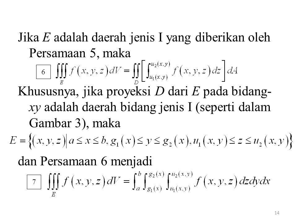 14 Jika E adalah daerah jenis I yang diberikan oleh Persamaan 5, maka Khususnya, jika proyeksi D dari E pada bidang- xy adalah daerah bidang jenis I (