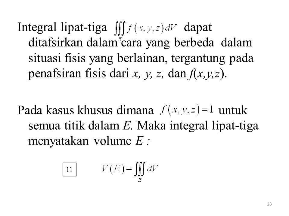 28 Integral lipat-tiga dapat ditafsirkan dalam cara yang berbeda dalam situasi fisis yang berlainan, tergantung pada penafsiran fisis dari x, y, z, da