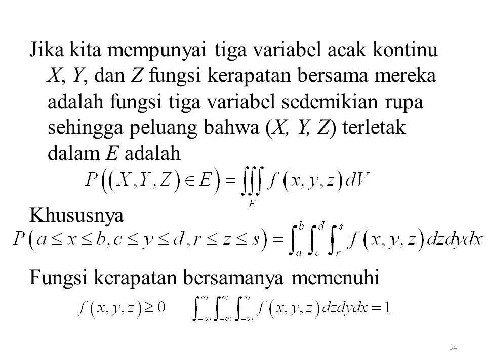 34 Jika kita mempunyai tiga variabel acak kontinu X, Y, dan Z fungsi kerapatan bersama mereka adalah fungsi tiga variabel sedemikian rupa sehingga pel