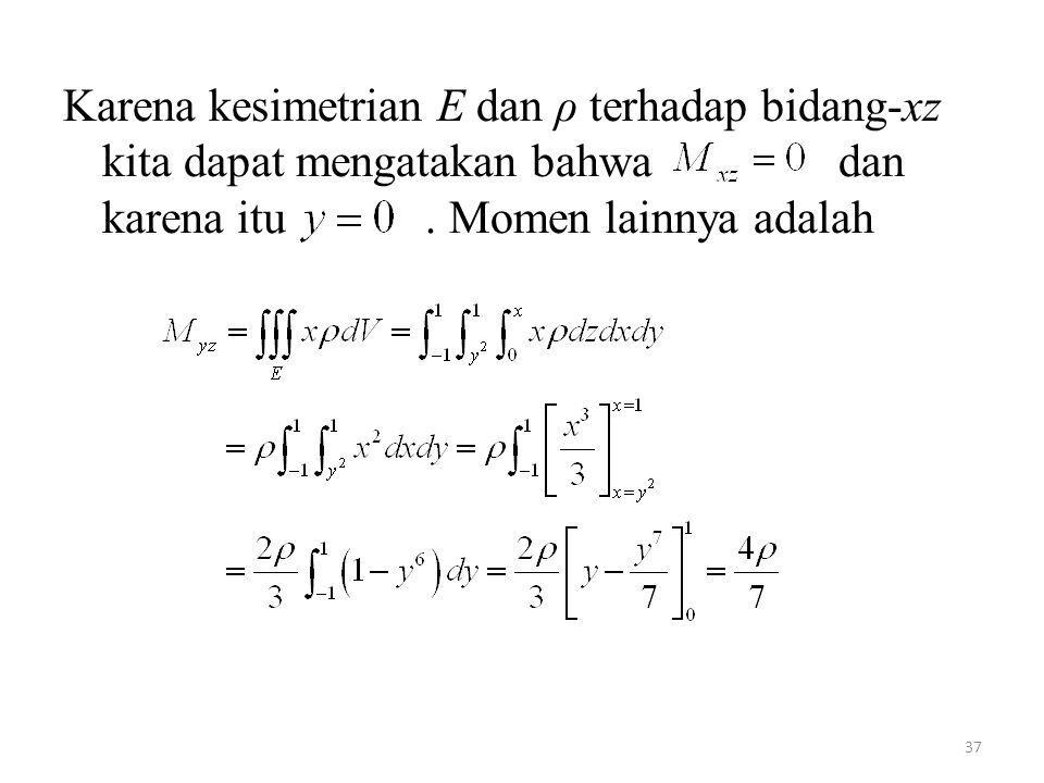 37 Karena kesimetrian E dan ρ terhadap bidang-xz kita dapat mengatakan bahwa dan karena itu. Momen lainnya adalah