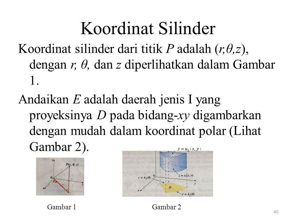40 Koordinat silinder dari titik P adalah (r,θ,z), dengan r, θ, dan z diperlihatkan dalam Gambar 1. Andaikan E adalah daerah jenis I yang proyeksinya