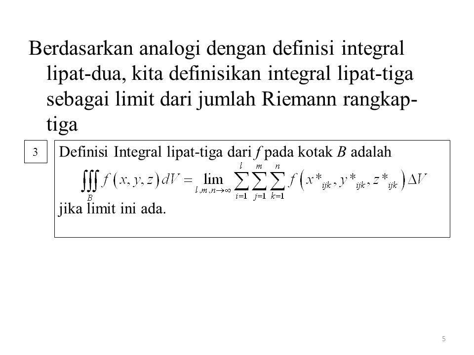 5 Berdasarkan analogi dengan definisi integral lipat-dua, kita definisikan integral lipat-tiga sebagai limit dari jumlah Riemann rangkap- tiga Definis