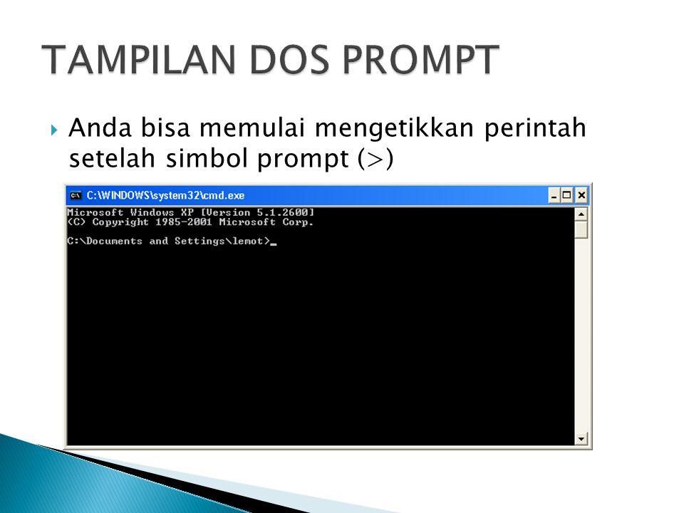  Anda bisa memulai mengetikkan perintah setelah simbol prompt (>)