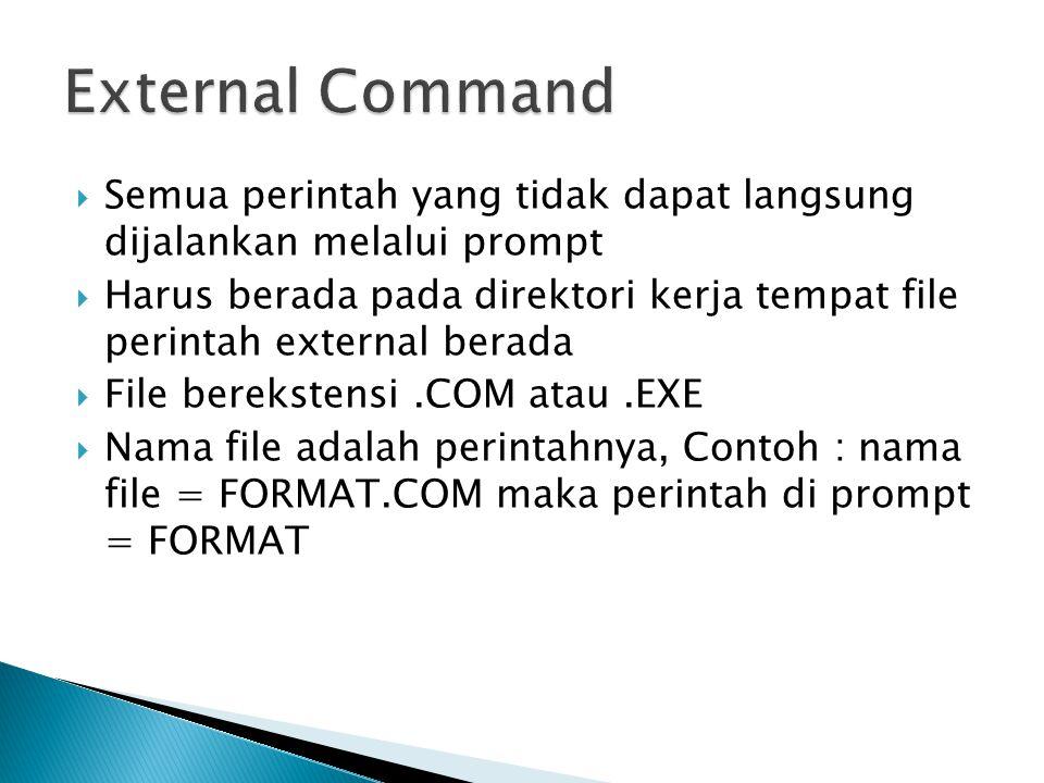  Semua perintah yang tidak dapat langsung dijalankan melalui prompt  Harus berada pada direktori kerja tempat file perintah external berada  File b