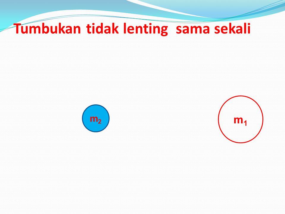 Hukum kekekalan momentum adalah M 1 v 1 + m 2 v 2 = m 1 v 1 ` + m 2 v 2 ` M 1 (v 1 – v 1 ` ) = -m 2 (v 2 – v 2 ` ) V 1 – v 2 = - (v 1 ` - v 2 ` ) rumu
