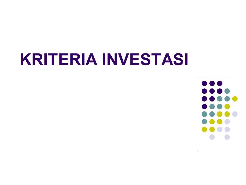 12 Analisis Kriteria Investasi Contoh 1: Berdasarkan hasil penelitian yang dilakukan untuk membangun industri pengolahan hasil pertanian, diketahui: Dana investasi: Rp.