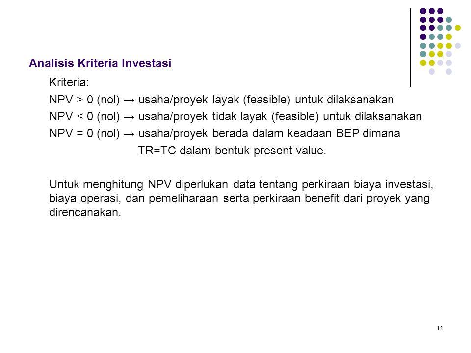 11 Analisis Kriteria Investasi Kriteria: NPV > 0 (nol) → usaha/proyek layak (feasible) untuk dilaksanakan NPV < 0 (nol) → usaha/proyek tidak layak (fe