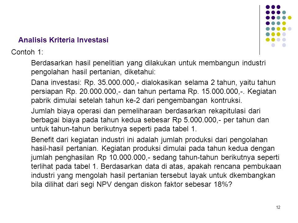 12 Analisis Kriteria Investasi Contoh 1: Berdasarkan hasil penelitian yang dilakukan untuk membangun industri pengolahan hasil pertanian, diketahui: D
