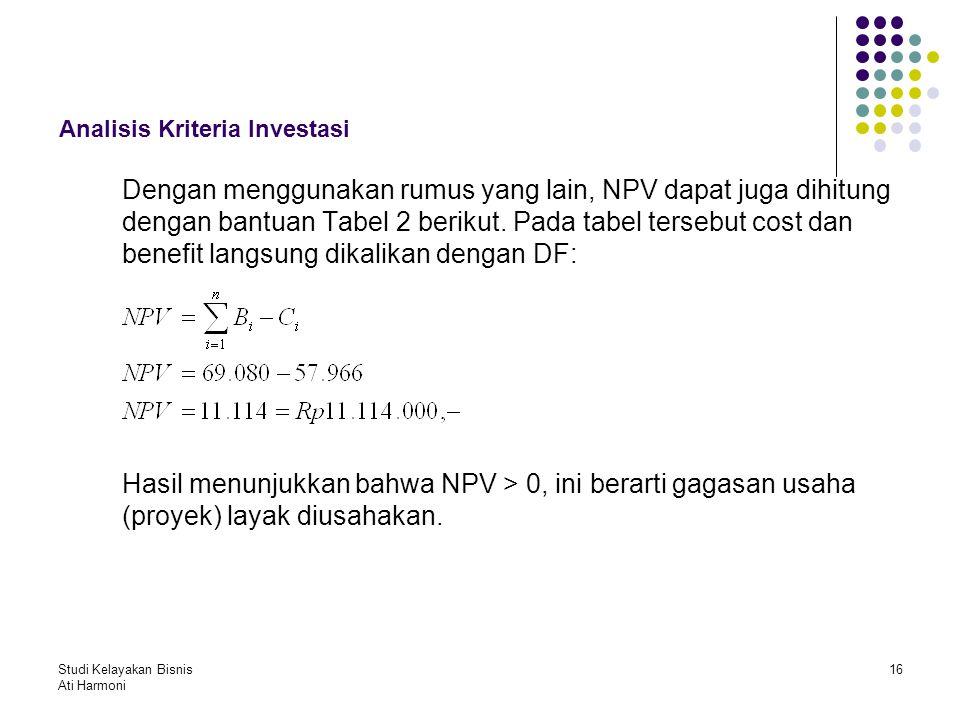 Studi Kelayakan Bisnis Ati Harmoni 16 Analisis Kriteria Investasi Dengan menggunakan rumus yang lain, NPV dapat juga dihitung dengan bantuan Tabel 2 b