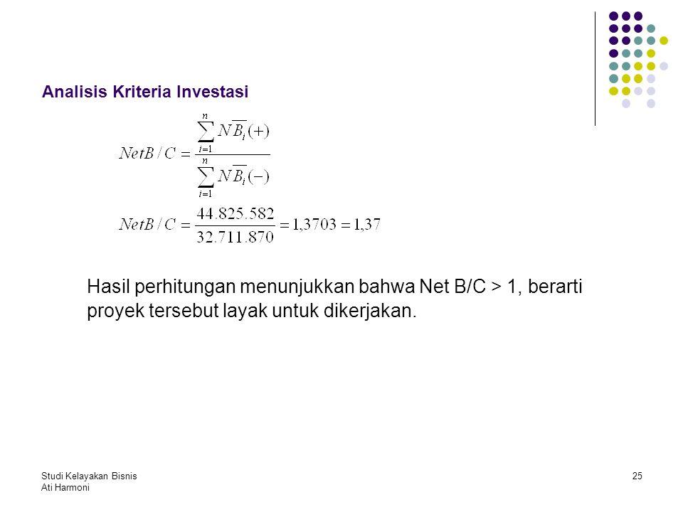 Studi Kelayakan Bisnis Ati Harmoni 25 Analisis Kriteria Investasi Hasil perhitungan menunjukkan bahwa Net B/C > 1, berarti proyek tersebut layak untuk