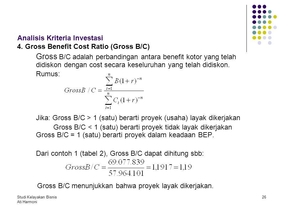 Studi Kelayakan Bisnis Ati Harmoni 26 Analisis Kriteria Investasi 4. Gross Benefit Cost Ratio (Gross B/C) Gross B/C adalah perbandingan antara benefit