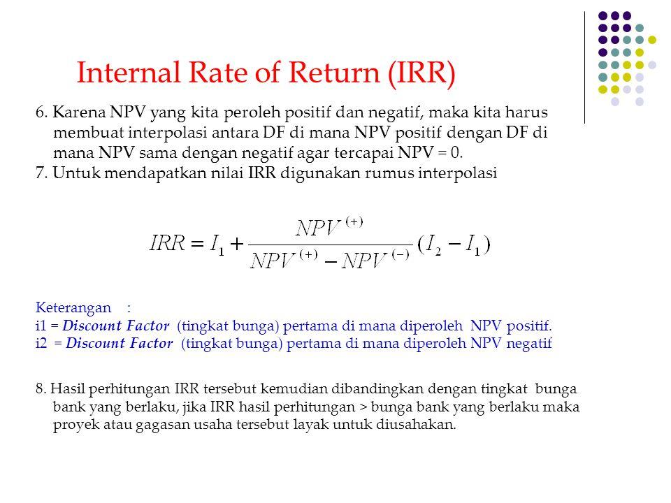 6. Karena NPV yang kita peroleh positif dan negatif, maka kita harus membuat interpolasi antara DF di mana NPV positif dengan DF di mana NPV sama deng