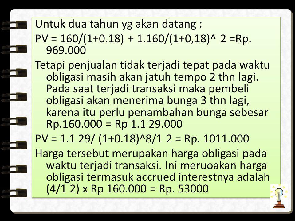 Untuk dua tahun yg akan datang : PV = 160/(1+0.18) + 1.160/(1+0,18)^ 2 =Rp.