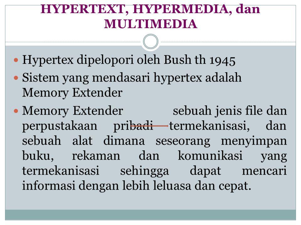 HYPERTEXT, HYPERMEDIA, dan MULTIMEDIA Hypertex dipelopori oleh Bush th 1945 Sistem yang mendasari hypertex adalah Memory Extender Memory Extender sebu