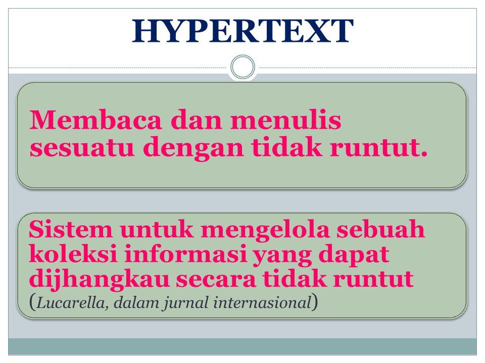 HYPERTEXT, HYPERMEDIA, dan MULTIMEDIA Hypertex dipelopori oleh Bush th 1945 Sistem yang mendasari hypertex adalah Memory Extender Memory Extender sebuah jenis file dan perpustakaan pribadi termekanisasi, dan sebuah alat dimana seseorang menyimpan buku, rekaman dan komunikasi yang termekanisasi sehingga dapat mencari informasi dengan lebih leluasa dan cepat.