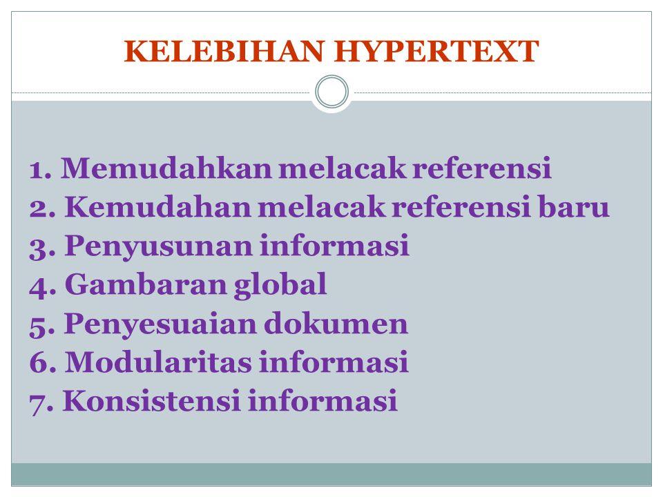 KELEBIHAN HYPERTEXT 1. Memudahkan melacak referensi 2.