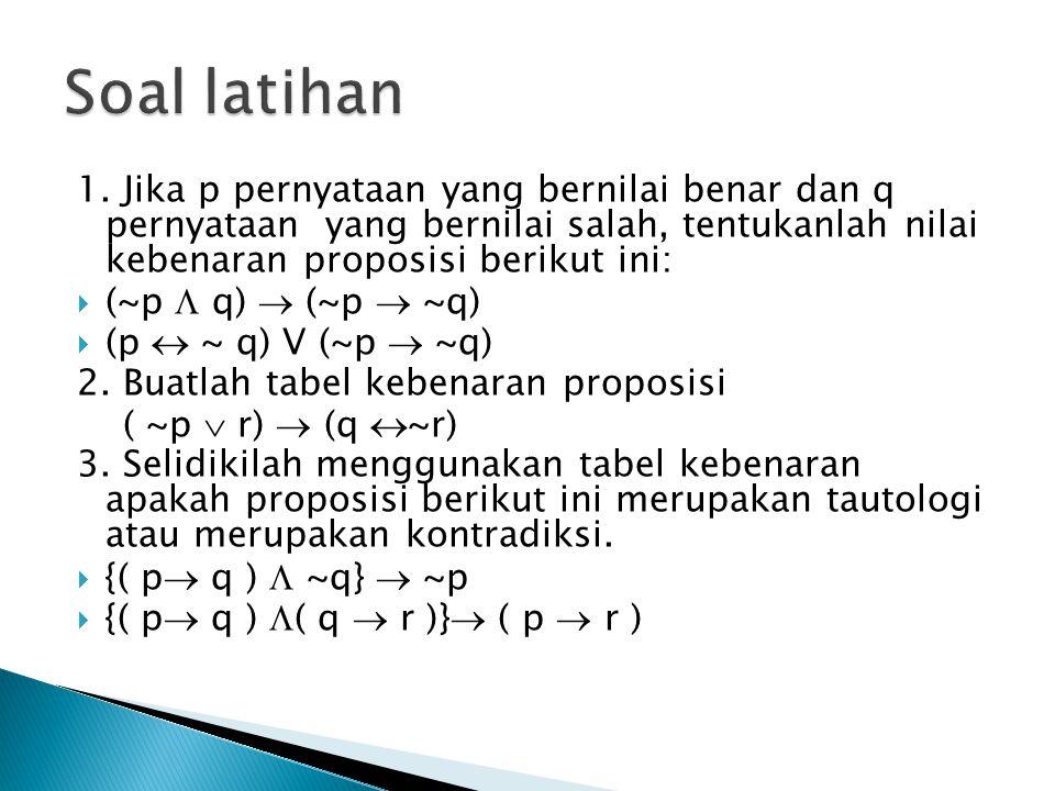 1. Jika p pernyataan yang bernilai benar dan q pernyataan yang bernilai salah, tentukanlah nilai kebenaran proposisi berikut ini:  (~p  q)  (~p  ~