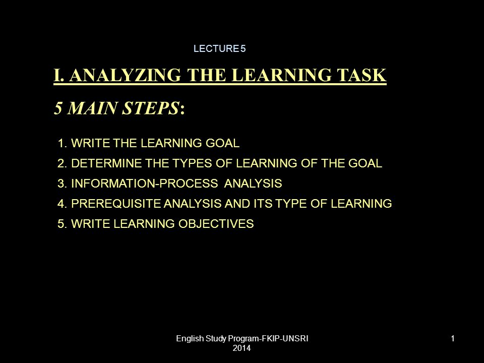 WRITE LEARNING GOALS THE LEARNING GOALS ARE STATEMENTS OF PURPOSE OR INTENTIONS (WHAT LEARNINERS SHOULD BE ABLE TO DO AFTER INSTRUCTION): THE FOCUS IS ON CLEAR DESCRIPTIONS OF WHAT CAPABILITIES LEARNERS WILL POSSESS AFTER INSTRUCTION.