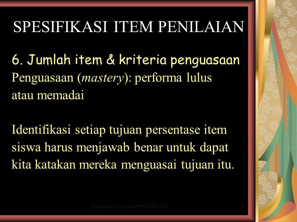 36 SPESIFIKASI ITEM PENILAIAN 6.