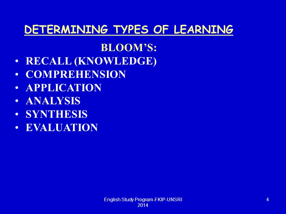 DETERMINING TYPES OF LEARNING GAGNE'S: DECLARATIVE KNOWLEDGE INTELLECTUAL SKILLS COGNITIVE STRATEGIES ATTITUDES PSYCHOMOTOR SKILLS English Study Program-FKIP-UNSRI 2014 5