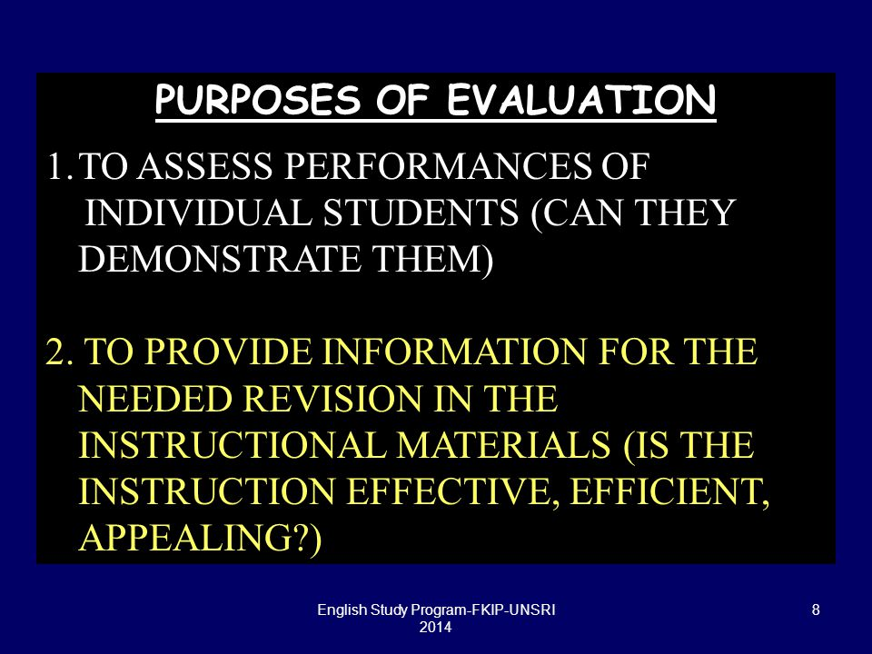 19 ASSESSMENT FORMATS PERFORMANCE ASSESSMENTS (AUTHENTIC ASSESSMENT -Norman & Linn, 1995 ): higher order knowledge and skills in the real-world context in which they are actually used, generally with open- ended tasks that require substantial examinee time to complete e.g.: observation, open-ended problems, micro worlds, essays, simulations, projects, portfolios English Study Program-FKIP-UNSRI 2014
